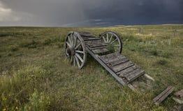 Vecchio carrello Saskatchewan della rotella della prateria Fotografie Stock