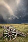 Vecchio carrello Saskatchewan della rotella della prateria Fotografia Stock