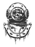 Vecchio casco di immersione subacquea illustrazione vettoriale