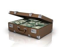 Vecchio caso in pieno di cento dollari bills Immagine Stock Libera da Diritti