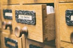 Vecchio cassetto di catalogo di legno dei file di archiviazione, archivi immagini stock libere da diritti
