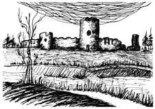 Vecchio castello Arti grafiche royalty illustrazione gratis