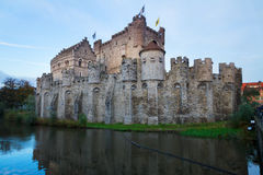 Vecchio castello di Gravensteen, Gand Fotografie Stock Libere da Diritti