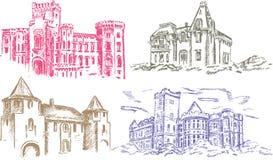Vecchio castello - illustrazione della mano illustrazione vettoriale