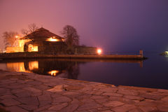 Vecchio castello nella notte Fotografie Stock