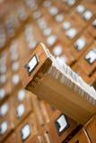 Vecchio catalogo di scheda di legno immagine stock libera da diritti