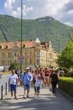 Vecchio centro storico turistico, Brasov, Romania Fotografia Stock