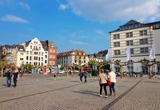 Vecchio centro urbano di Dusseldorf in Germania Fotografia Stock Libera da Diritti