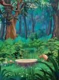 Vecchio ceppo di albero in una foresta di estate Fotografie Stock Libere da Diritti