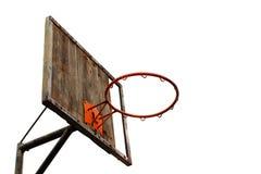 Vecchio cerchio di pallacanestro e un bordo posteriore Immagine Stock Libera da Diritti
