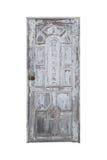Vecchio chiuso bianco della porta isolato su bianco con il percorso di ritaglio Fotografie Stock Libere da Diritti