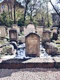 Vecchio cimitero a Cracovia, Polonia Sguardo artistico nei colori vivi d'annata Immagini Stock Libere da Diritti