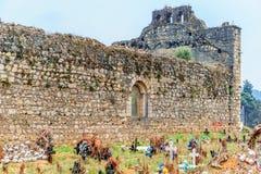 Vecchio cimitero di maya in Chamula da San Cristobal de Las Casas nel Messico immagini stock