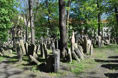 Vecchio cimitero ebreo, Praga, repubblica Ceca fotografie stock