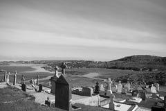 Vecchio cimitero gaelico nella contea il Donegal di Kincasslagh Fotografia Stock