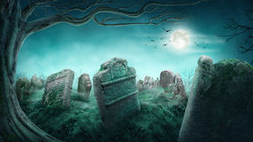 Vecchio cimitero spettrale Fotografia Stock Libera da Diritti