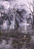 Vecchio cimitero terrificante Fotografie Stock