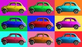 Vecchio collage d'annata dell'automobile variopinto Industria italiana Sulle cellule colorate Immagini Stock