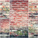 Vecchio collage del muro di mattoni Immagini Stock