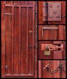 Vecchio collage di legno del portello immagine stock