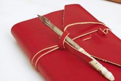 Vecchio colore rosso del libro del diario Immagini Stock Libere da Diritti