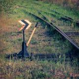 Vecchio commutatore ferroviario con controllo manuale immagini stock