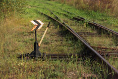 Vecchio commutatore ferroviario con controllo manuale fotografia stock