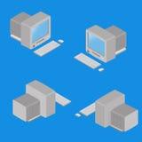 Vecchio computer isometrico nella posizione quattro Fotografia Stock