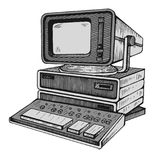Vecchio computer, uno dei primissime Fotografie Stock
