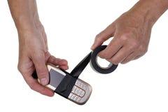 Vecchio concetto di riparazione del telefono Fotografia Stock Libera da Diritti