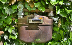 Vecchio contatore del gas italiano Fotografia Stock Libera da Diritti