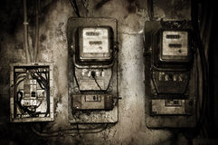 Vecchio contatore elettrico Fotografie Stock Libere da Diritti