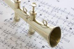 Vecchio corno d'ottone della casetta Immagini Stock