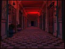 Vecchio corridoio dell'hotel Fotografie Stock
