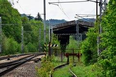 Vecchio corridoio ferroviario abbandonato Fotografie Stock Libere da Diritti
