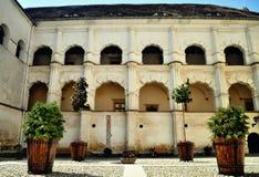 Vecchio cortile del castello in Romania Fotografia Stock Libera da Diritti