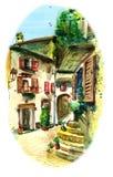 Vecchio cortile in Italia del sud illustrazione di stock