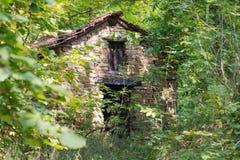 Vecchio cottage abbandonato nel legno Fotografia Stock