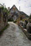 Vecchio cottage di pietra in Dinan, Brittany France Fotografia Stock