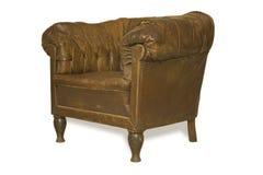 Vecchio cuoio armchait-1 Immagini Stock
