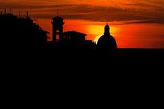 Vecchio del ponte del tramonto Immagine Stock