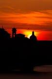 Vecchio del ponte del tramonto alto Fotografie Stock