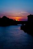 Vecchio del ponte di sera Immagine Stock