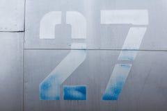 Vecchio dettaglio di alluminio di un æreo militare, corrosione superficiale del fondo Fotografia Stock Libera da Diritti