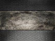 Vecchio di piastra metallica graffiato sulla griglia del fondo Immagini Stock Libere da Diritti