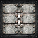 Vecchio di piastra metallica sulla parete metallica Fotografia Stock