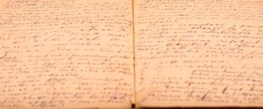 Vecchio diario scritto a mano Fotografie Stock Libere da Diritti