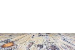 Vecchio dipinto ha lavato la tavola di legno di quercia isolata su fondo bianco Tabella di legno fotografia stock libera da diritti