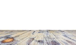 Vecchio dipinto ha lavato la tavola di legno di quercia isolata su fondo bianco Tabella di legno immagini stock