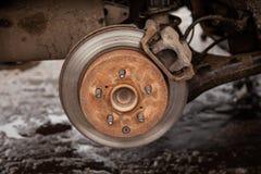 Vecchio disco nell'automobile, sicurezza del freno fotografia stock